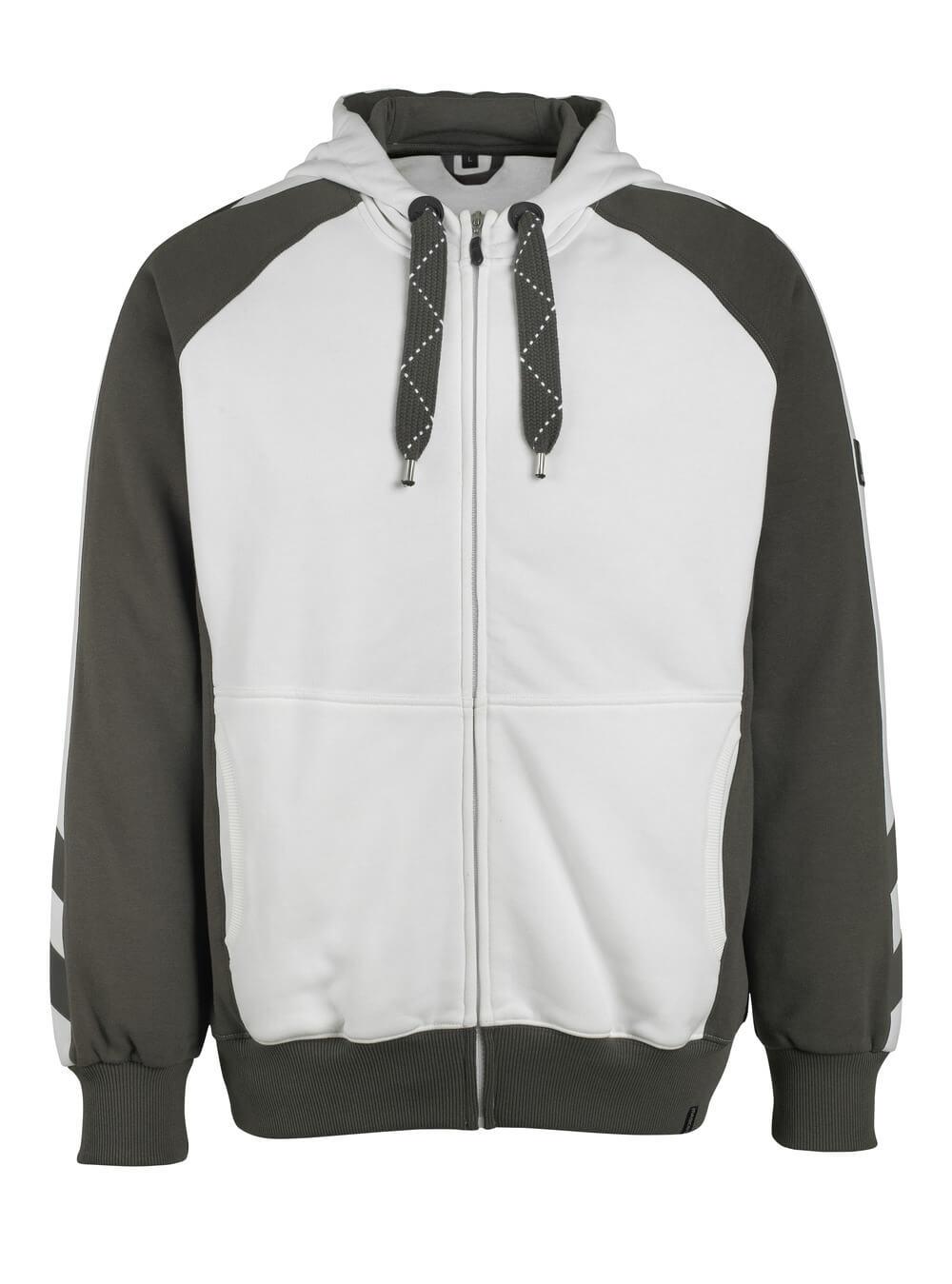 50509-811-0618 Bluza z Kapturem z zamkiem błyskawicznym - biel/ciemny antracyt